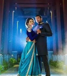 Buy blue embroidered silk lehenga with dupatta ghagra-choli online