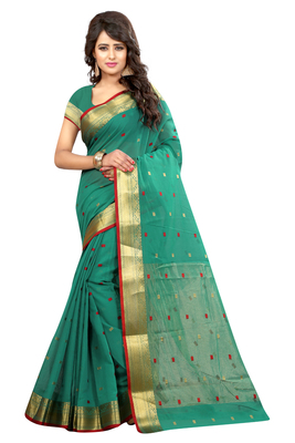 Green plain cotton silk saree with blouse
