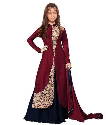Maroon Dori Embroidery Banglori Silk indo Western Style ReadyMade Kids Wear