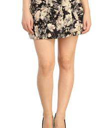 Buy N-gal: Blue and Beige printed polyester and spandex casual short-skirt. Its Free Size Fits Perfectly to S-L. short-skirt online