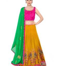 Buy  Yellow embroidered Taffeta Silk semi stitched lehenga choli material with green dupatta lehenga-choli online