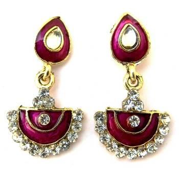 Purple Meenakari Earrings