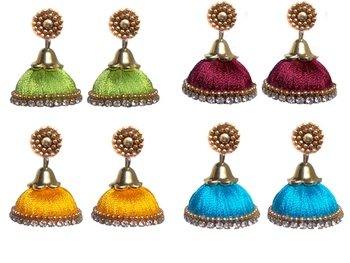 Pack of four trendy silk thread jhumkas
