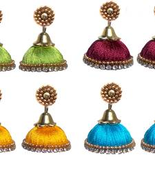 Buy Pack of four trendy silk thread jhumkas combo-earring online