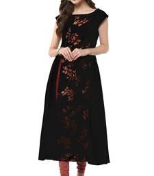Buy Black printed crepe party-wear-kurtis party-wear-kurti online