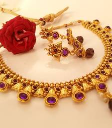 Buy Amazing Purple Kemp Necklace Set with a pair of Matching  Jhumkas necklace-set online