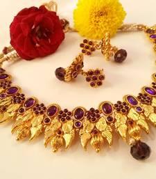 Buy Splendid Purple Kemp Peacock Necklace Set with Matching Jhumkas necklace-set online
