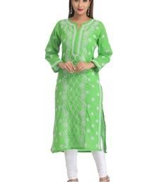 Buy Green hand embroidred cotton lucknow chikankari Kurti chikankari-kurtis online