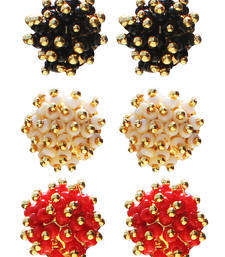 Buy What-e-look Pack of 3 Bead Stud Earrings in White, Red and Black combo-earring online