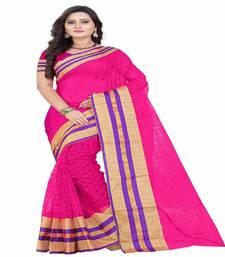 Buy pink printed cotton saree with blouse kota-saree online