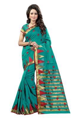 Rama printed tussar silk saree with blouse