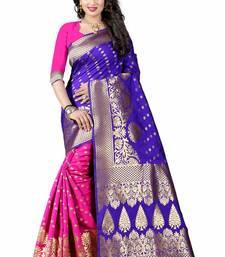 Buy Blue hand woven cotton silk saree with blouse handloom-saree online