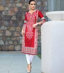 Buy Red abstract print cotton stitched kurti black-friday-deal-sale online
