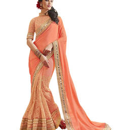 Buy Styles Closet Peach embroidered georgette saree with blouse georgette-saree online