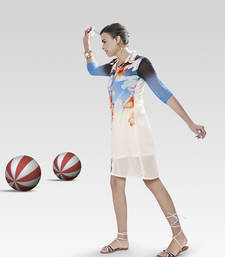 Buy Multicolor printed polyester kurtis multicolor-kurti online