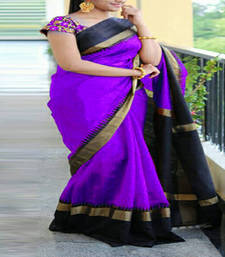 Buy Purple printed bhagalpuri saree with blouse bhagalpuri-silk-saree online