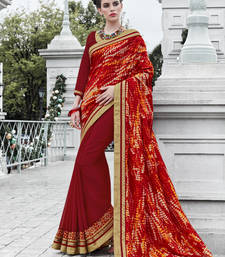 Buy multicolor embroidered silk and georgette saree with blouse georgette-saree online
