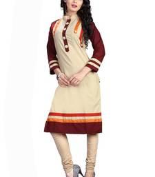 Buy Cream plain cotton cotton-kurtis cotton-kurti online