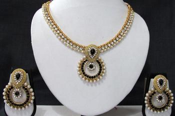 Black stone necklace sets