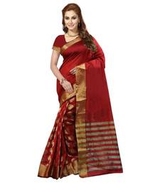 Buy red printed cotton saree with blouse cotton-saree online