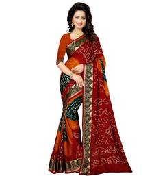 Buy Red printed bhagalpuri silk saree with blouse bandhani-sarees-bandhej online