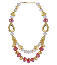 Buy Gold Color Red Beads Patterned Bead Necklace for Women Necklace online