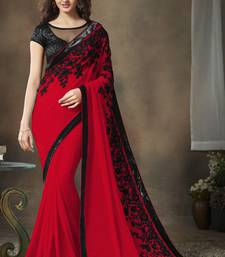 Buy Red embroidered georgette saree with blouse fashion-deal online