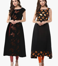 Buy Multicolor printed crepe party-wear-kurti combo-kurtis online