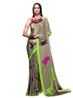 Fawn printed art silk blend saree with blouse