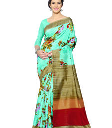Buy   sea green printed bhagalpuri silk saree with blouse bhagalpuri-silk-saree online