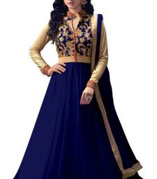 Buy Blue embroidered net semi stitched salwar with dupatta anarkali-salwar-kameez online