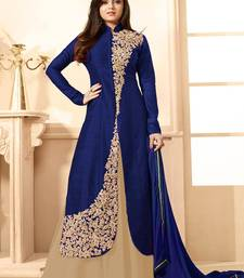 Buy Blue Embroidered Art Silk Salwar Indian Dress Online