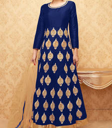 Buy Blue embroidered banglory silk stitched salwar with dupatta readymade-suit online