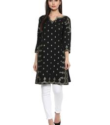 Buy Black stitched Crepe  stitched kurti long-kurtis online