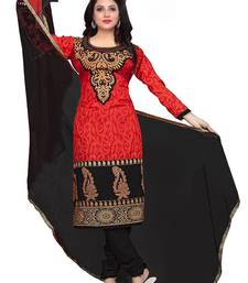 Buy Red printed cotton unstitched salwar with dupatta fashion-deal online