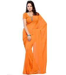 Buy Orange plain georgette saree with blouse georgette-saree online