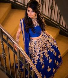 Buy Blue embroidered net unstitched lehenga bollywood-lehenga online