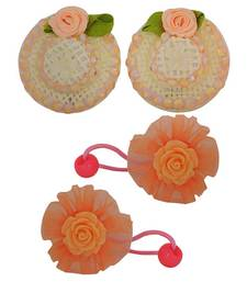 Buy 2 Tic Tac Hair Clips 2 Rubber Band Orange Green Dailywear Schoolwear hair-accessory online