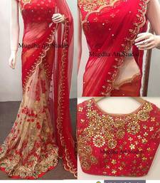 Buy Multicolor embroidered georgette saree with blouse traditional-saree online