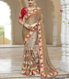 Buy Off white embroidered nylon saree with blouse traditional-saree online