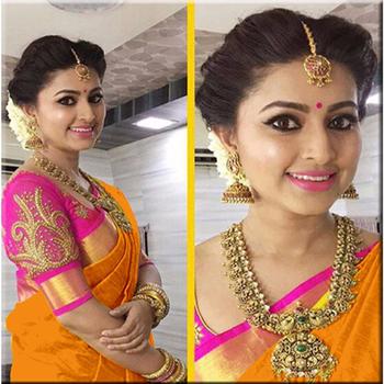 Orange printed chanderi saree with blouse