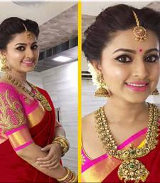 Buy Dark red printed chanderi saree with blouse chanderi-saree online