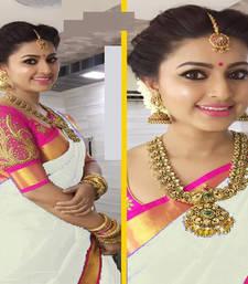 Buy White printed chanderi saree with blouse chanderi-saree online