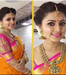 Buy Orange printed chanderi saree with blouse cotton-saree online