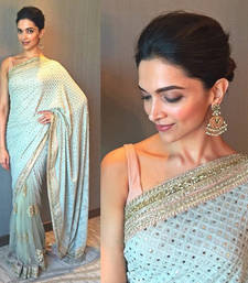 Buy Sky blue embroidered net saree with blouse deepika-padukone-saree online