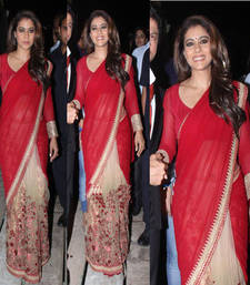 Buy Red embroidered net saree with blouse kajal-agarwal-saree online