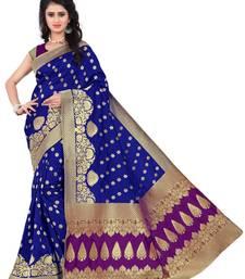 Buy blue hand woven banarasi saree with blouse banarasi-silk-saree online