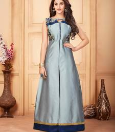 Buy Grey embroidered silk party-wear-kurtis party-wear-kurtis online
