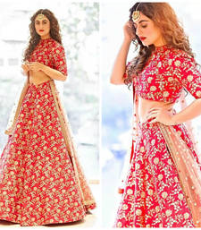 Buy Red hand woven silk unstitched lehenga bridal-lehenga online