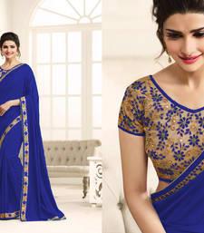 Buy Blue embroidered art silk saree with blouse art-silk-saree online